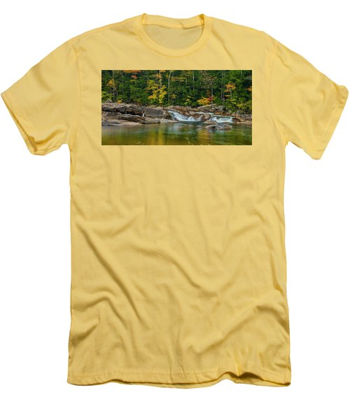 Fall Foliage In Autumn Along Swift River In New Hampshire Men's T-Shirt (Slim Fit) by Ranjay Mitra