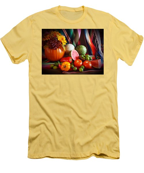 Men's T-Shirt (Slim Fit) featuring the painting Fall Harvest Still Life by Marilyn Smith