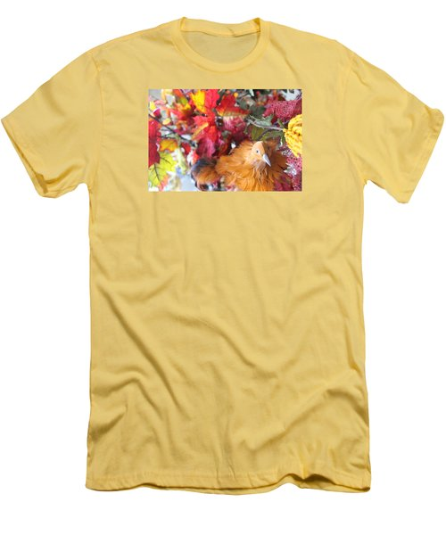 Fall Leaves W/bird Men's T-Shirt (Athletic Fit)