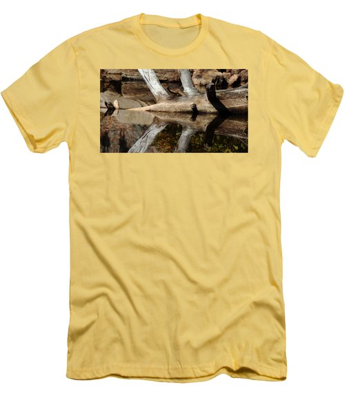 Men's T-Shirt (Slim Fit) featuring the photograph Fallen Tree Mirror Image by Debbie Oppermann