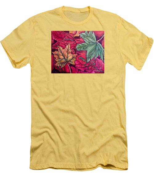 Men's T-Shirt (Slim Fit) featuring the painting Falling Leaves Two Painting by Kimberlee Baxter