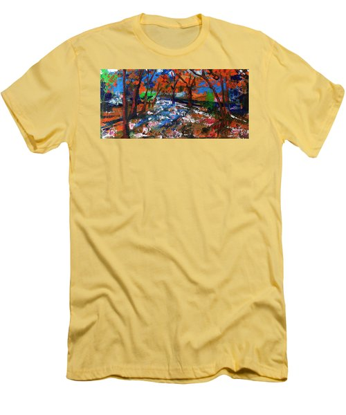 Fall Colors And First Snow Men's T-Shirt (Slim Fit) by Walter Fahmy