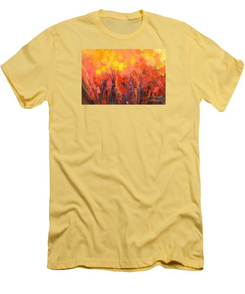 Men's T-Shirt (Slim Fit) featuring the painting Fantastic Fire by Tatiana Iliina