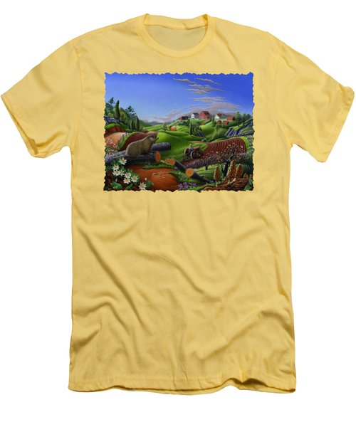 Farm Folk Art - Groundhog Spring Appalachia Landscape - Rural Country Americana - Woodchuck Men's T-Shirt (Athletic Fit)