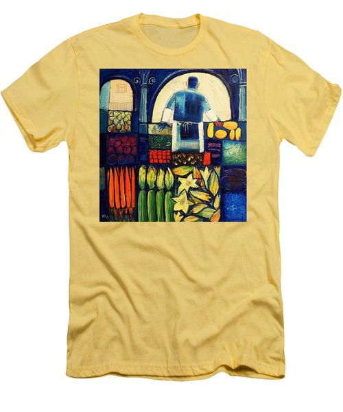 Men's T-Shirt (Slim Fit) featuring the painting Farm Market   by Mikhail Zarovny