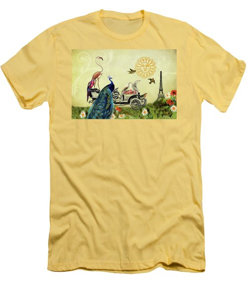 Feathered Friends In Paris, France Men's T-Shirt (Athletic Fit)
