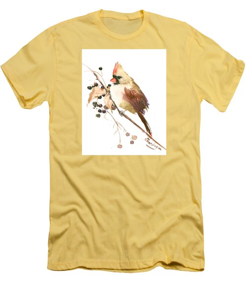 Female Cardinal Bird Men's T-Shirt (Athletic Fit)