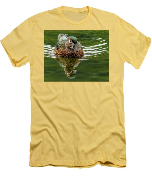 Men's T-Shirt (Slim Fit) featuring the photograph Female Wood Duck by Jean Noren