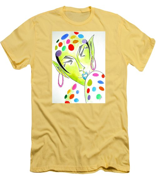 Fey -- The Original -- Fantasy Elf Portrait With Polka Dots Men's T-Shirt (Athletic Fit)
