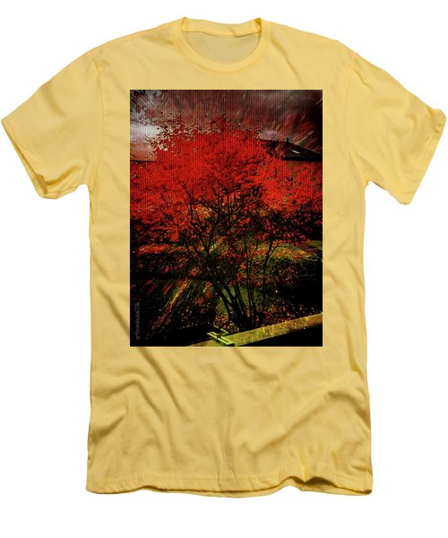 Men's T-Shirt (Slim Fit) featuring the photograph Fiery Dance by Mimulux patricia no No