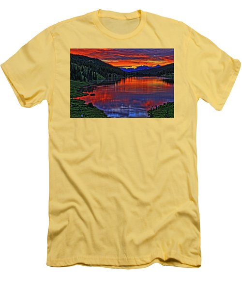 Men's T-Shirt (Slim Fit) featuring the photograph Fiery Lake by Scott Mahon