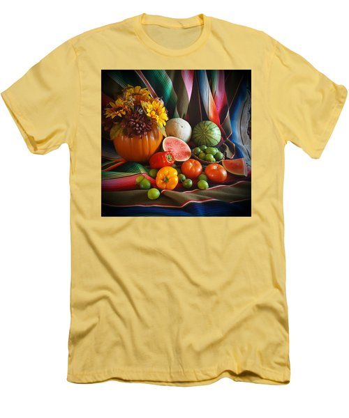 Men's T-Shirt (Slim Fit) featuring the painting Fiesta Fall Harvest by Marilyn Smith