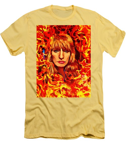 Fire Woman Abstract Fantasy Art Men's T-Shirt (Athletic Fit)
