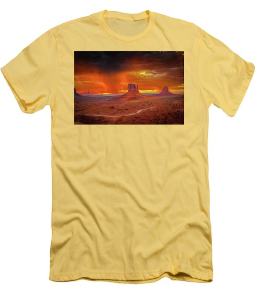 Firestorm Over The Valley Men's T-Shirt (Slim Fit) by Mark Dunton