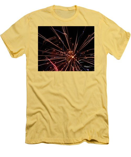 Men's T-Shirt (Athletic Fit) featuring the photograph Fireworks Blast #0703 by Barbara Tristan