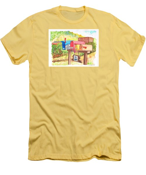 Five Mail Boxes In Route 1, San Simeon, California Men's T-Shirt (Slim Fit) by Carlos G Groppa