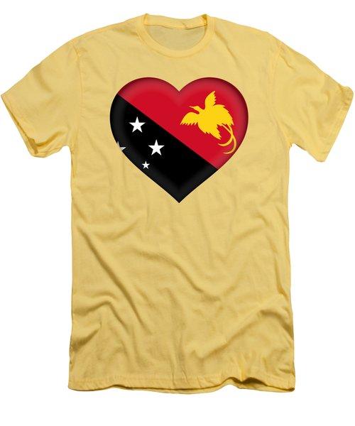 Flag Of Papua New Guinea Heart Men's T-Shirt (Athletic Fit)