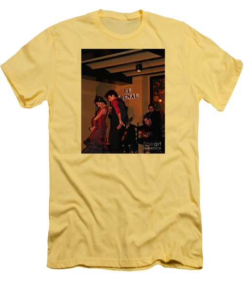 Men's T-Shirt (Slim Fit) featuring the photograph Flamingo Dancers by Haleh Mahbod