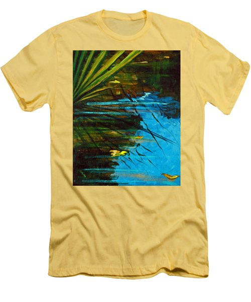 Men's T-Shirt (Slim Fit) featuring the painting Floating Gold On Reflected Blue by Suzanne McKee
