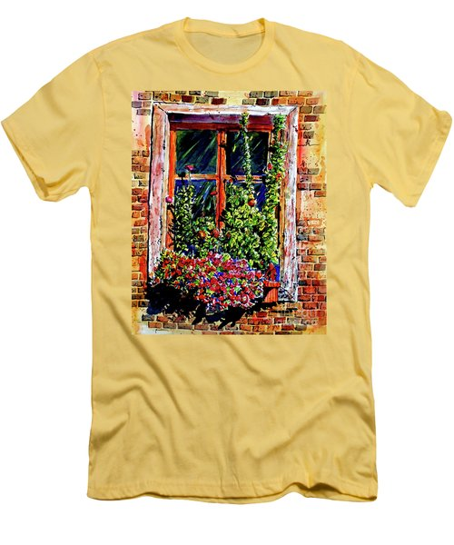 Men's T-Shirt (Slim Fit) featuring the painting Flower Window by Terry Banderas