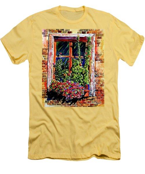 Flower Window Men's T-Shirt (Slim Fit) by Terry Banderas