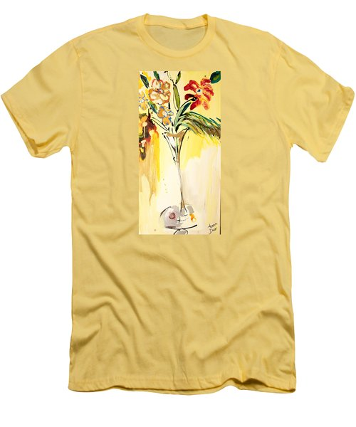 Flowers Flowing In Yellow Men's T-Shirt (Slim Fit) by Amara Dacer