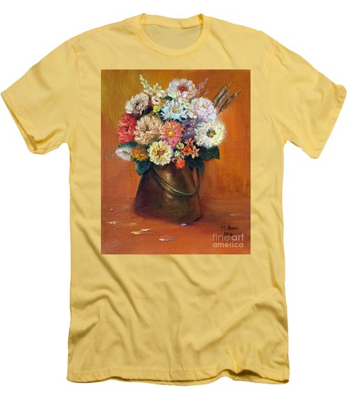 Men's T-Shirt (Athletic Fit) featuring the painting Flowers In A Metal Vase  by Marlene Book
