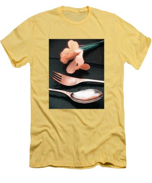 Flowers On Slate Variation 4 Men's T-Shirt (Slim Fit) by Jon Delorme