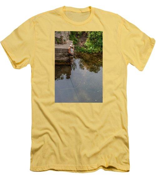Fly Fisher Gal Men's T-Shirt (Slim Fit) by Dan Traun