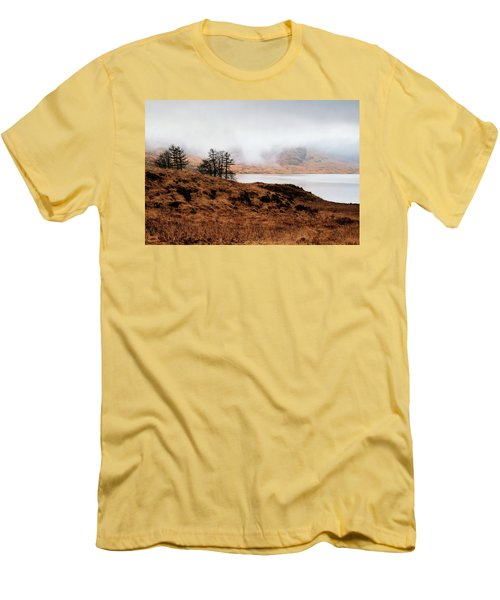 Foggy Day At Loch Arklet Men's T-Shirt (Slim Fit) by Jeremy Lavender Photography