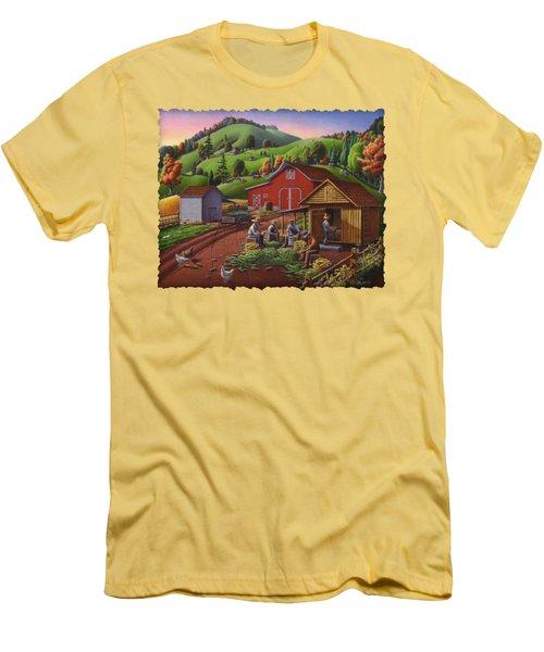 Folk Art Americana - Farmers Shucking Harvesting Corn Farm Landscape - Autumn Rural Country Harvest  Men's T-Shirt (Slim Fit) by Walt Curlee
