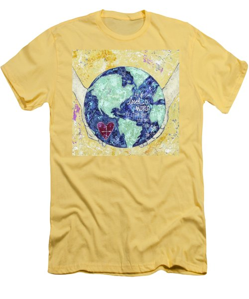 For He So Loved The World Men's T-Shirt (Slim Fit) by Kirsten Reed