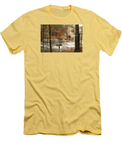 Fork River In Fall Men's T-Shirt (Athletic Fit)