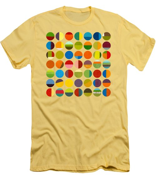 Men's T-Shirt (Slim Fit) featuring the painting Forty Nine Circles by Michelle Calkins