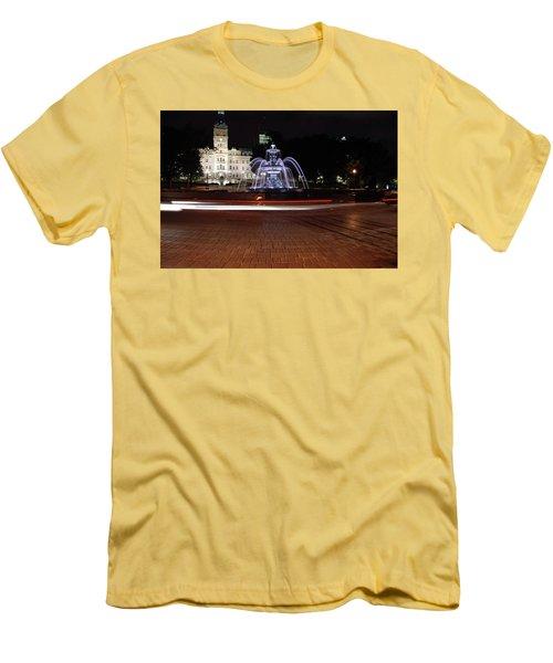 Fountaine De Tourny And Quebec Parliament Men's T-Shirt (Slim Fit) by John Schneider