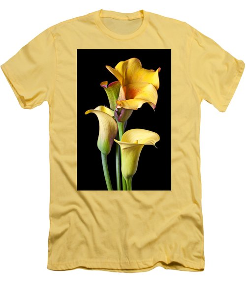 Four Calla Lilies Men's T-Shirt (Slim Fit) by Garry Gay