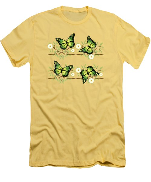 Four Green Butterflies Men's T-Shirt (Athletic Fit)