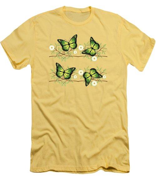 Four Green Butterflies Men's T-Shirt (Athletic Fit)