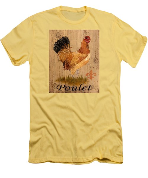 French Country Shabby Cottage Poulet Hen Men's T-Shirt (Slim Fit) by Cindy Micklos