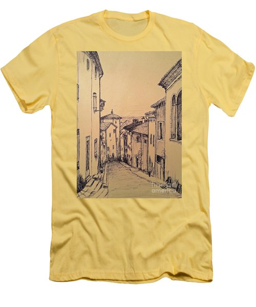 Men's T-Shirt (Slim Fit) featuring the drawing French Little Town Drawing by Maja Sokolowska