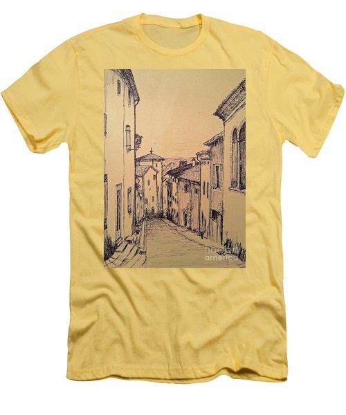 French Little Town Drawing Men's T-Shirt (Slim Fit) by Maja Sokolowska