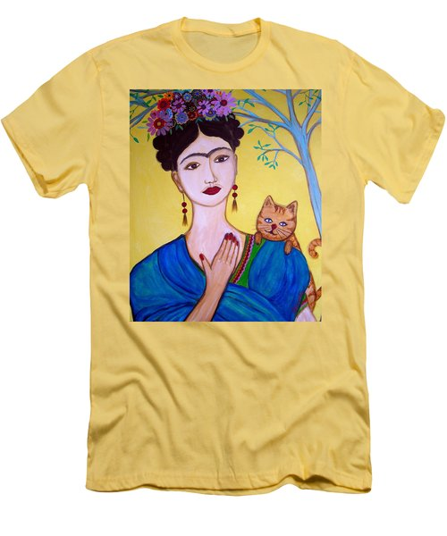 Frida And Her Cat Men's T-Shirt (Slim Fit) by Pristine Cartera Turkus