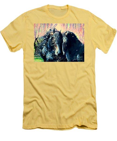 A Friesian Romance Men's T-Shirt (Slim Fit) by Ruanna Sion Shadd a'Dann'l Yoder