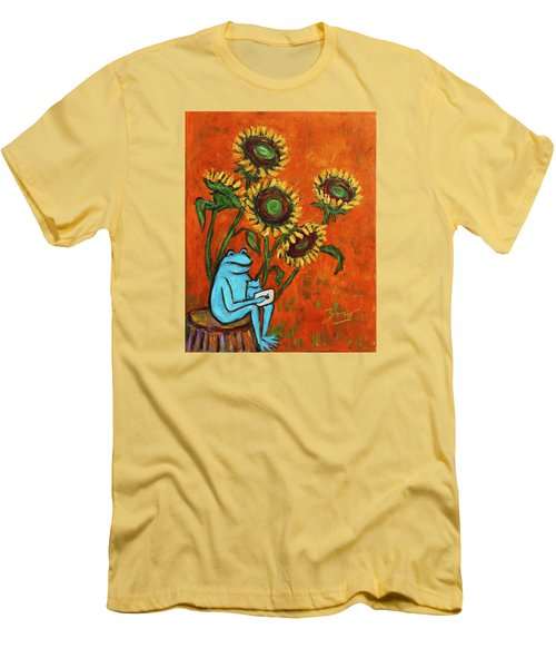 Frog I Padding Amongst Sunflowers Men's T-Shirt (Slim Fit) by Xueling Zou