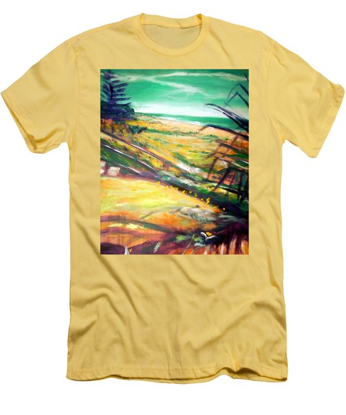 Men's T-Shirt (Slim Fit) featuring the painting From The Lawn Pandanus by Winsome Gunning
