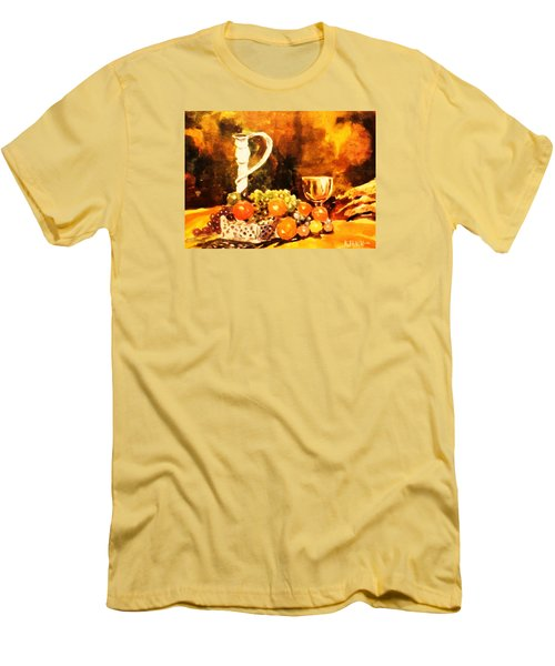 Men's T-Shirt (Slim Fit) featuring the painting Fruit, Candelabrum And Goblet by Al Brown