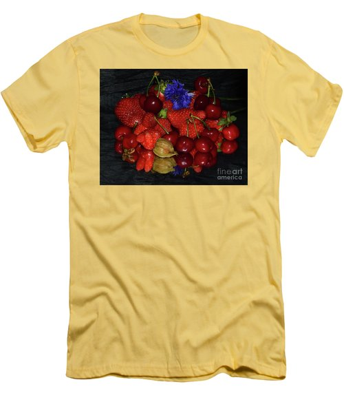 Men's T-Shirt (Slim Fit) featuring the photograph Fruits With Flower by Elvira Ladocki