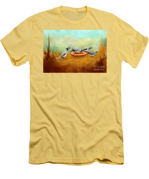 Gambel's Quail On Parade Men's T-Shirt (Slim Fit) by Judy Filarecki