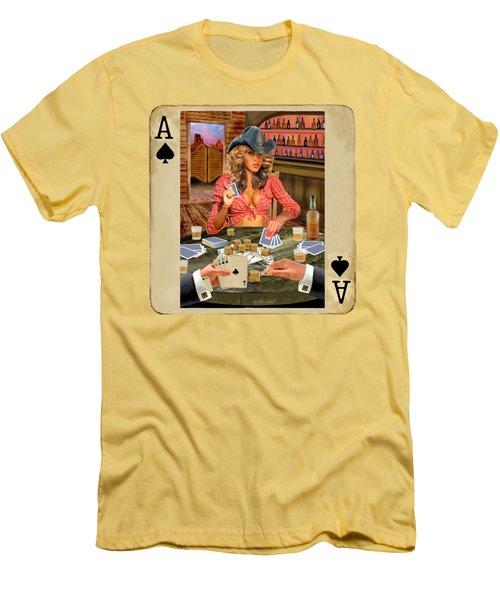 Gamblin' Cowgirl Men's T-Shirt (Slim Fit) by Glenn Holbrook