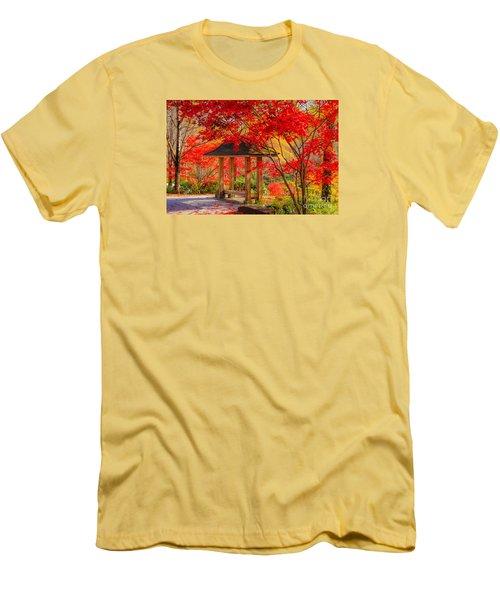 Men's T-Shirt (Slim Fit) featuring the photograph Garden Bench by Geraldine DeBoer